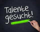 Man writing talente gesucht