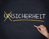Hand crossing out the german word unsicherheit