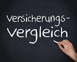 Hand writing words versicherungs and vergleich