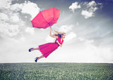 Attractive woman flying in the air