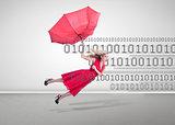 Woman flying with a broken umbrella