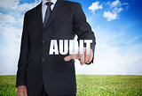 Businessman selecting audit word