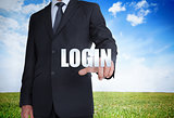 Businessman selecting login word