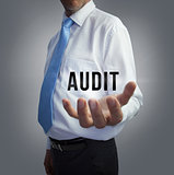 Businessman holding the word audit