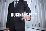 Businessman selecting the term business plan