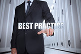 Businessman selecting the term best practice