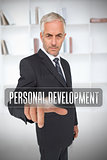 Businessman touching the term personal development