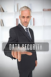Businessman selecting the term data security