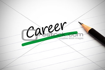 Career written on a notepad