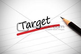Target written on a notepad