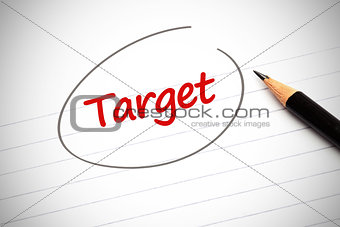 Target word written on a notepad