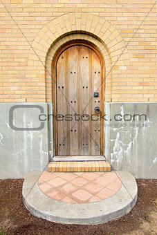 Old Church Exterior Wood Door Entry