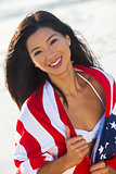 Beautiful Asian Woman Girl in American Flag on Beach