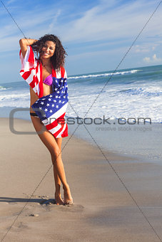 Sexy Young Woman Girl in American Flag on Beach