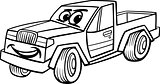 pickup car cartoon coloring page