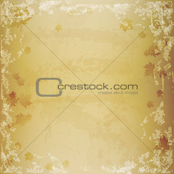Autumn grunge texture vector illustration with leaves