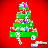 Green stripe christmas paper tree vector illustration
