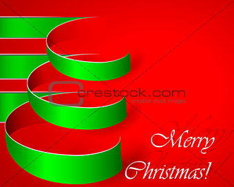 Green stripe christmas vector tree