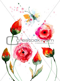 Cartoon style flowers with butterfly