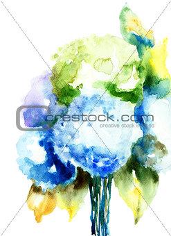 Beautiful Hydrangea blue flowers