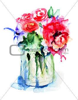 Beautiful flowers in vase