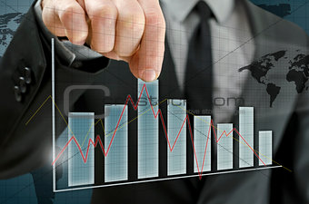 Business man presenting interactive graph