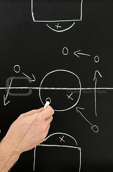 Football coach hand drawing strategy plan on chalkboard