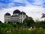 Medan's Great Mosque at Day.