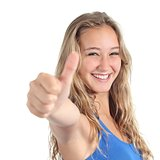 Close up of a beautiful teenage girl with thumb up