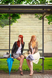 Two Girls at Bus Stop