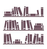 Books on the shelves simply retro vector illustration. Vintage shelf - design objects isolated on white background