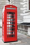 British red phone box on a London street