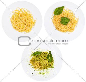 top view on spaghetti with pesto