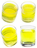 glass of yellow carbonated water with vitamin