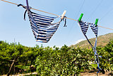 drying female swimsuit outdoor