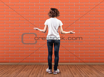 Wall before a girl