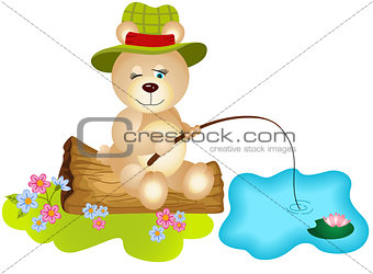 Teddy bear fishing