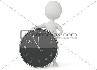 3d humanoid character show a clock