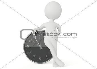 3d humanoid character with a clock