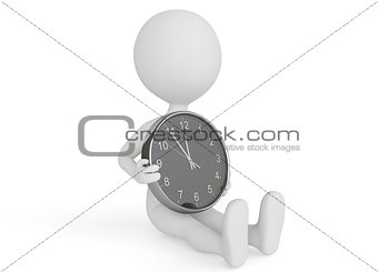 3d humanoid character hold a clock