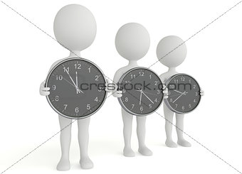 Three 3d humanoid character hold a clock