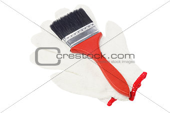 Paint Brush And Cotton Gloves