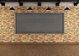 Empty loft with large blackboard squared