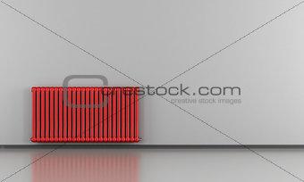 Grey interior with red radiator