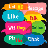 Multicolored speech bubbles with most common used acronyms and abbreviations, vector Eps10 illustration.
