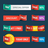 Collection of sale discount website ribbons, vector Eps10 image.