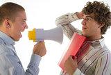 businessmen aggressively speak