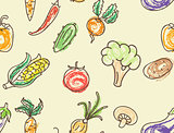 Doodle color vegetables seamless pattern