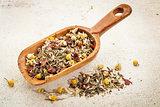 scoop of herbal tea