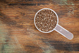 measuring scoop of chia seeds